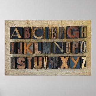 Close up of alphabet on letterpress 2 poster