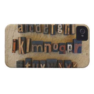 Close up of alphabet on letterpress iPhone 4 cover