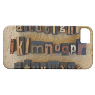 Close up of alphabet on letterpress iPhone 5 covers
