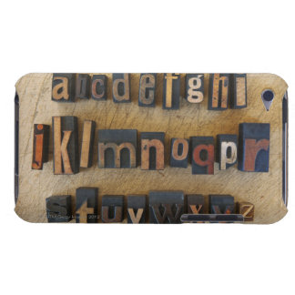 Close up of alphabet on letterpress iPod touch cover