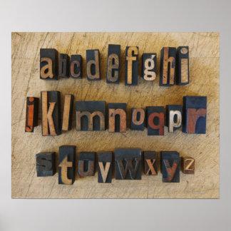 Close up of alphabet on letterpress poster