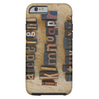 Close up of alphabet on letterpress tough iPhone 6 case