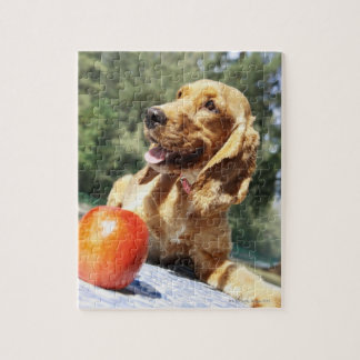 Close-up of an apple in front of a dog jigsaw puzzle
