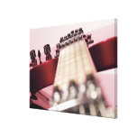 Close-up of an electric guitar stretched canvas print