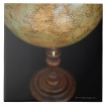 Close-up of antique globe 2 large square tile