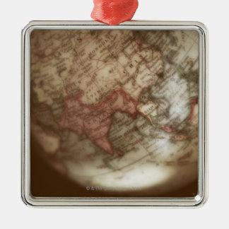 Close up of antique globe 2 Silver-Colored square decoration