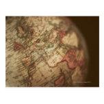 Close-up of antique globe 3 postcard