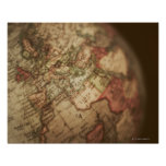 Close-up of antique globe 3 poster