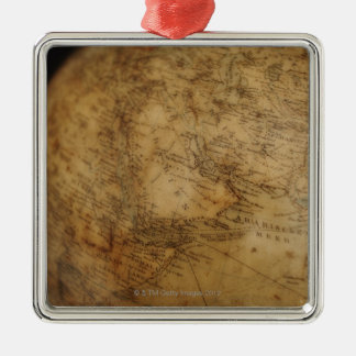Close up of antique globe 3 Silver-Colored square decoration