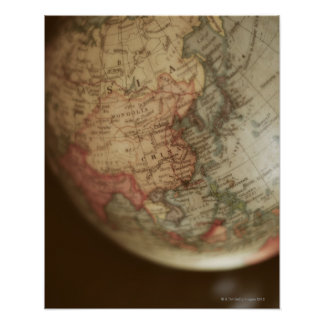 Close-up of antique globe poster
