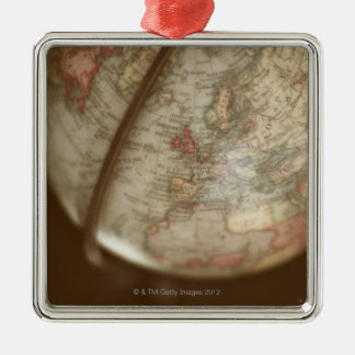 Close up of antique globe Silver-Colored square decoration