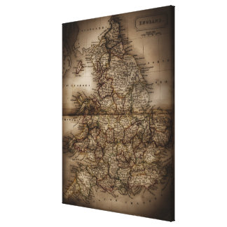 Close up of antique map of England Canvas Print