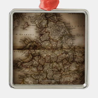 Close up of antique map of England Silver-Colored Square Decoration