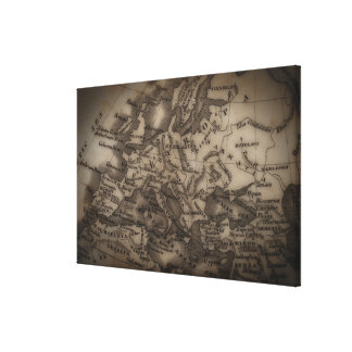 Close up of antique map of Europe Canvas Print