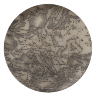 Close up of antique map of Europe Plate
