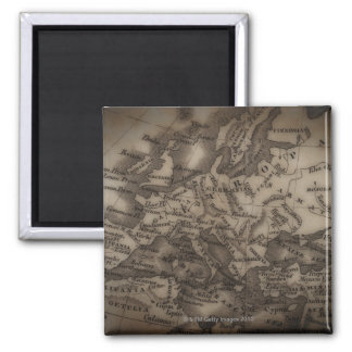 Close up of antique map of Europe Square Magnet