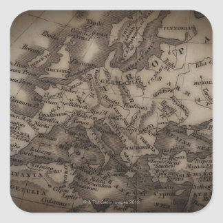 Close up of antique map of Europe Square Sticker
