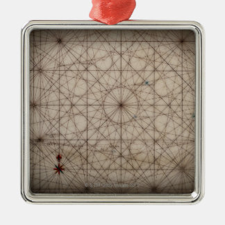 Close up of antique map Silver-Colored square decoration