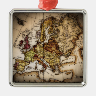 Close up of antique world map 2 Silver-Colored square decoration