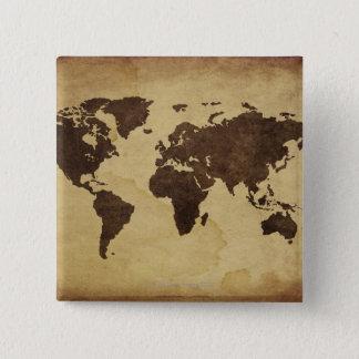 Close up of antique world map 3 15 cm square badge