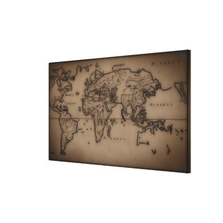 Close up of antique world map 3 canvas print