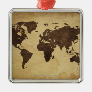 Close up of antique world map 3 christmas ornament