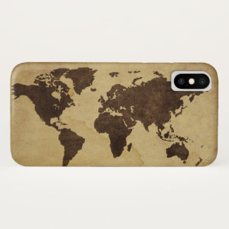 Close up of antique world map 3 iPhone x case