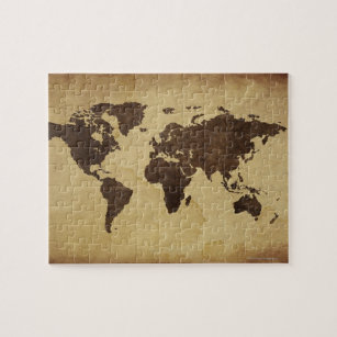 Close up of antique world map 3 jigsaw puzzle