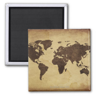Close up of antique world map 3 magnets
