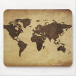 Close up of antique world map 3 mousemats