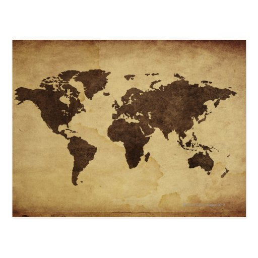 Close up of antique world map 3 post cards