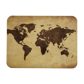 Close up of antique world map 3 rectangular photo magnet