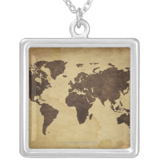 Close up of antique world map 3 silver plated necklace