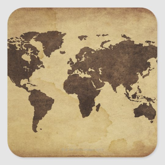 Close up of antique world map 3 square