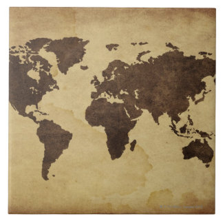 Close up of antique world map 3 tile