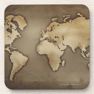 Close up of antique world map 4 beverage coaster