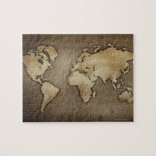 Close up of antique world map 4 jigsaw puzzle