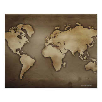 Close up of antique world map 4 poster