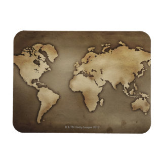 Close up of antique world map 4 rectangle magnet