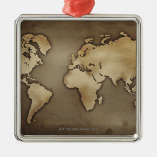 Close up of antique world map 4 Silver-Colored square decoration