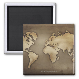 Close up of antique world map 4 square magnet