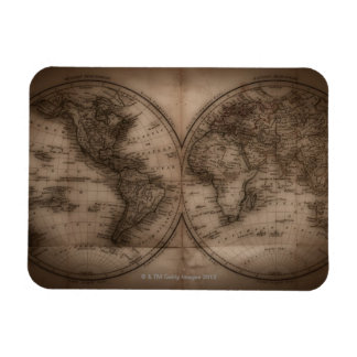 Close up of antique world map 5 rectangular photo magnet