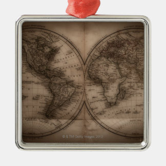 Close up of antique world map 5 Silver-Colored square decoration