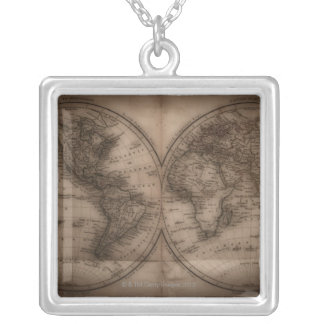 Close up of antique world map 5 silver plated necklace
