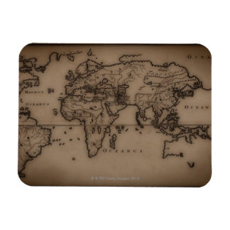 Close up of antique world map 7 rectangular photo magnet