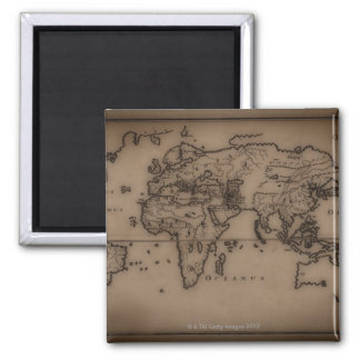 Close up of antique world map 7 square magnet