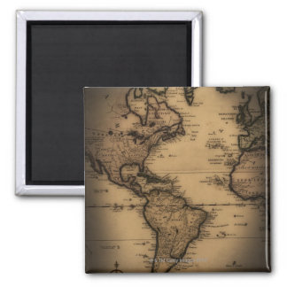 Close up of antique world map magnets