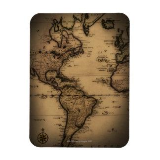 Close up of antique world map rectangular photo magnet