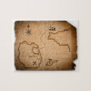 Close up of antique world map with ship route jigsaw puzzle