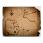 Close up of antique world map with ship route poster